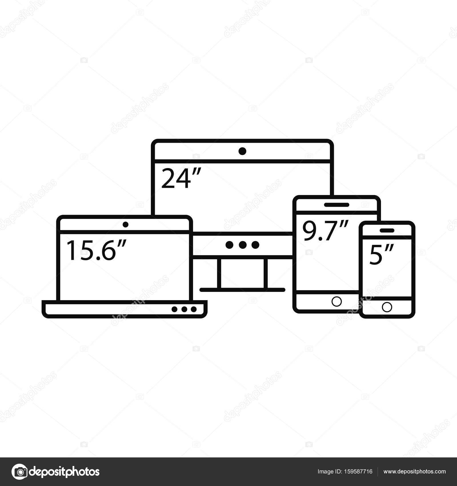 set de plantillas de laptop y tableta y teléfono móvil — Vector de ...