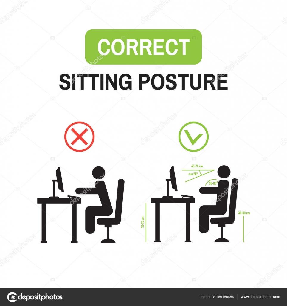 Posture ergonomique de bureau. Bonne séance posture position ... on
