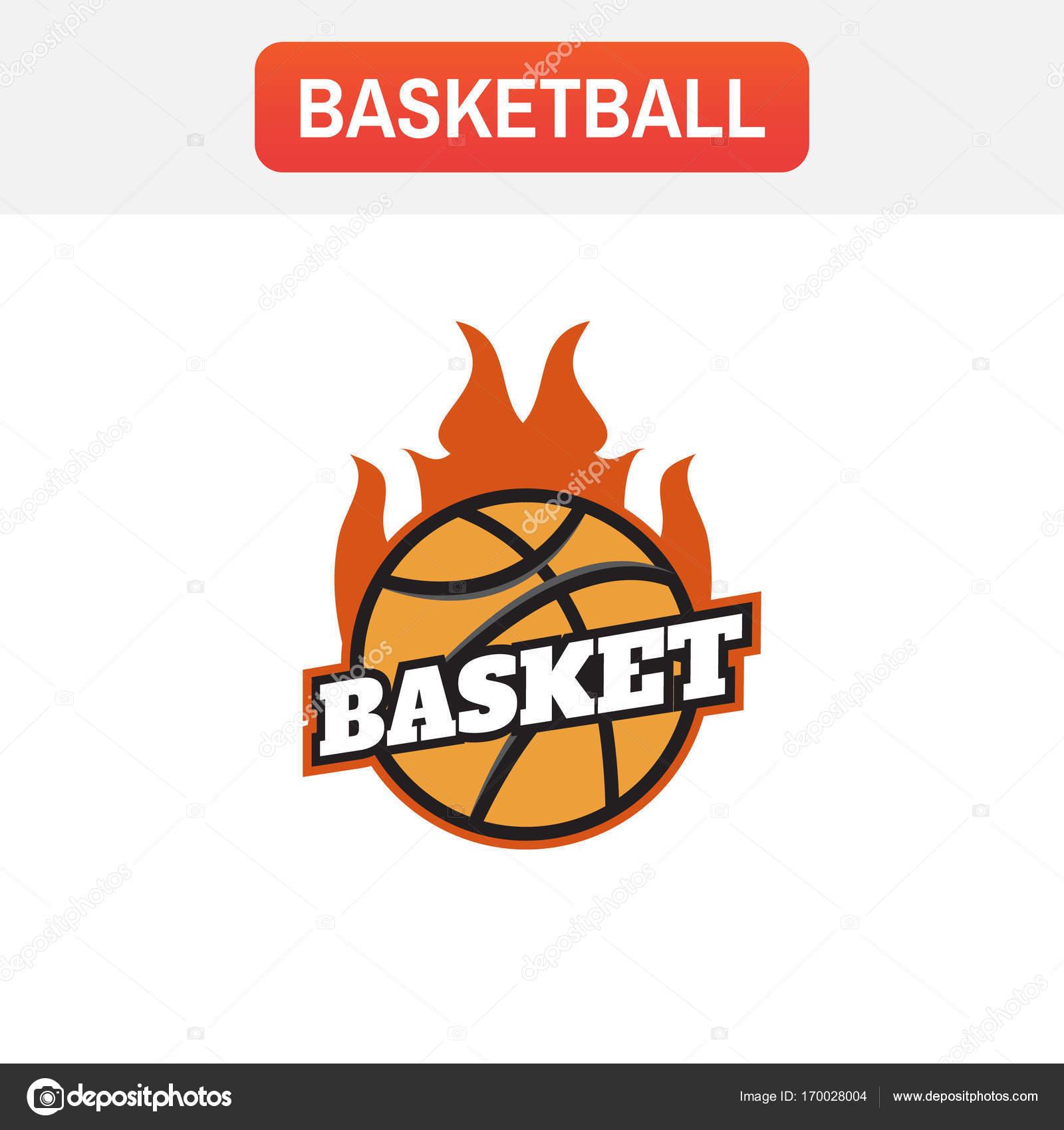 Logotipo de fogo de basquete. Modelo de emblema de torneio de basquete —  Vetor de f332719660282