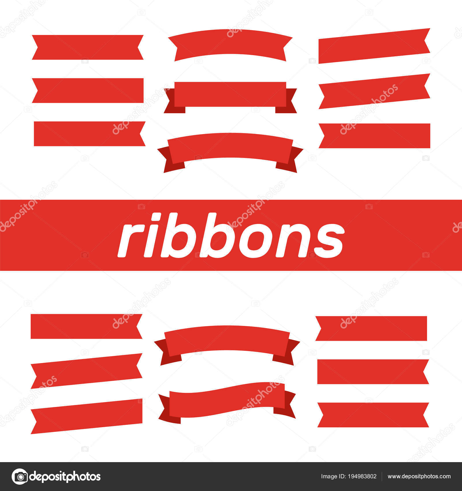 Flat Vector Ribbons Banners Flat Banner Ribbon Vector Set Stock
