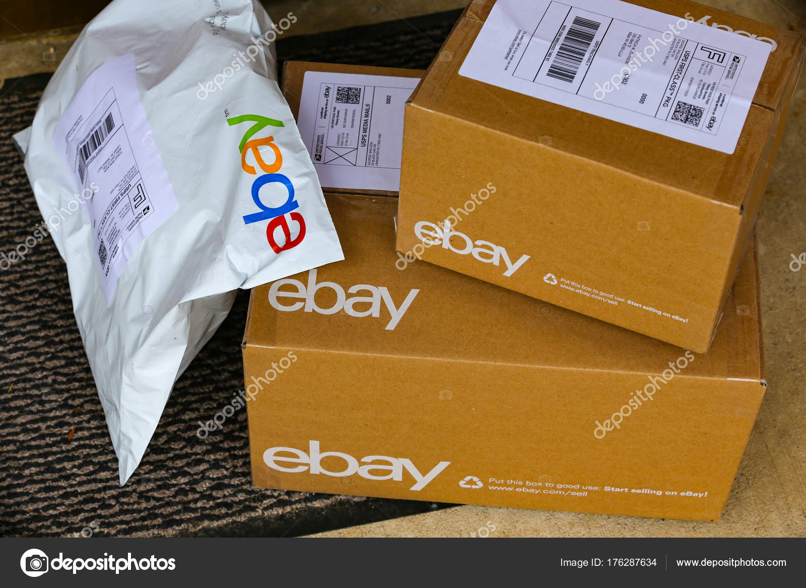 EBay Packages Delivered at Door \u2014 Stock Photo & eBay Packages Delivered at Door \u2013 Stock Editorial Photo ...