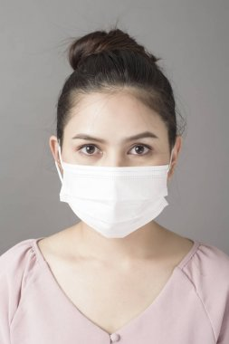close up woman face is wearing surgical mask