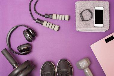 Fitness equipment on purple mat