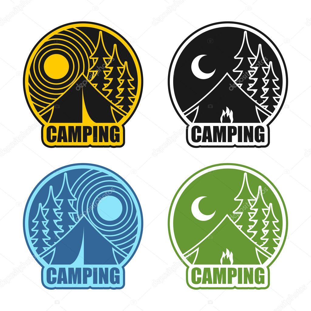 201f917723 Camping logo day and night. Landscape with tent and forest. Emblem  Accommodation in camp. Sun and moon. Fire at boot — Vector by ...