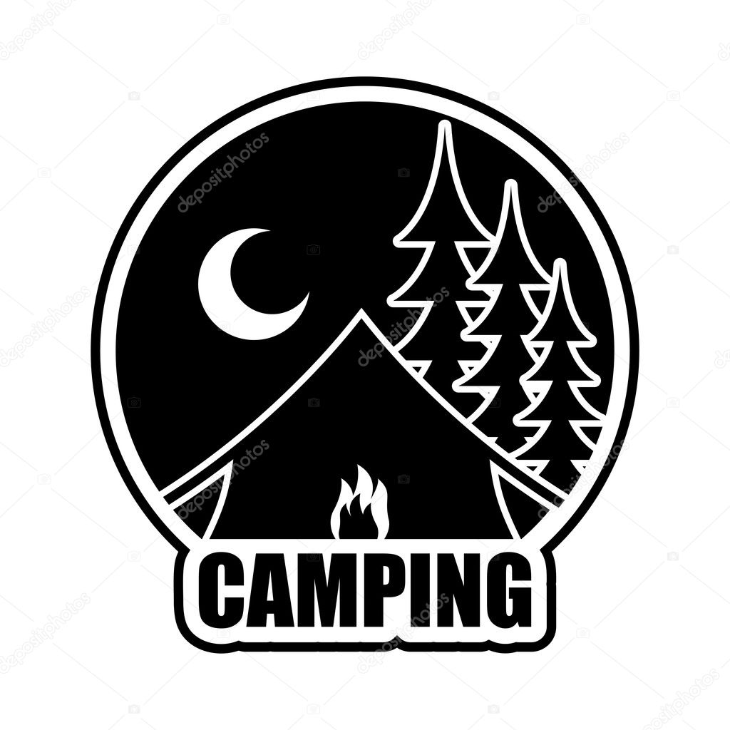 9aff9d7bd0 Night Camping logo. Emblem for accommodation camp. Landscape with tent and  forest. Moon and Bonfire of boot — Vector by ...