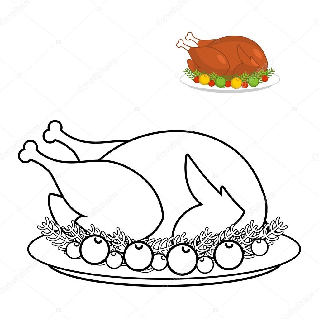Roast turkey for Thanksgiving coloring book. fowl on plate in li ...