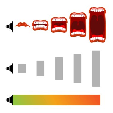 Adjust volume. shout level. Stage scream. Open mouth with tongue