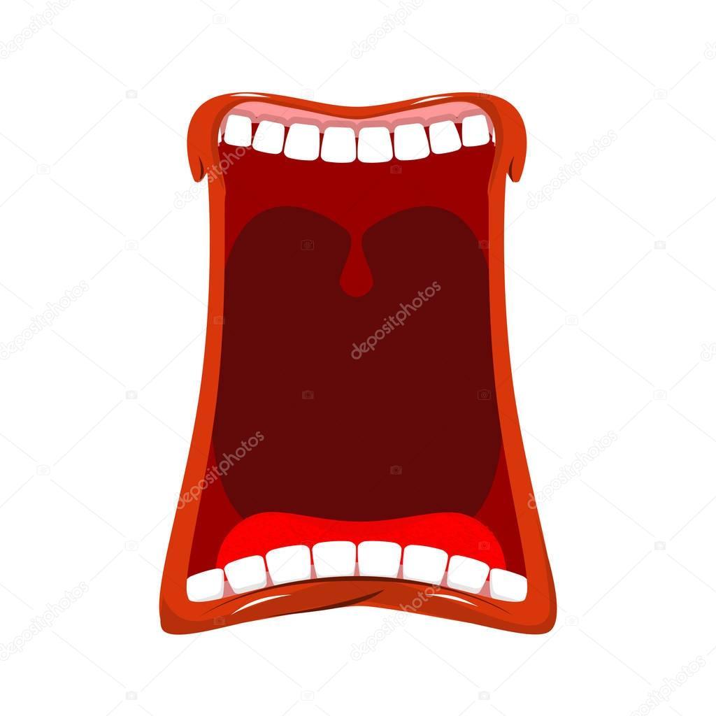 Boca abierta aislada. Los dientes y la lengua. Hambre. Bostezos en ...