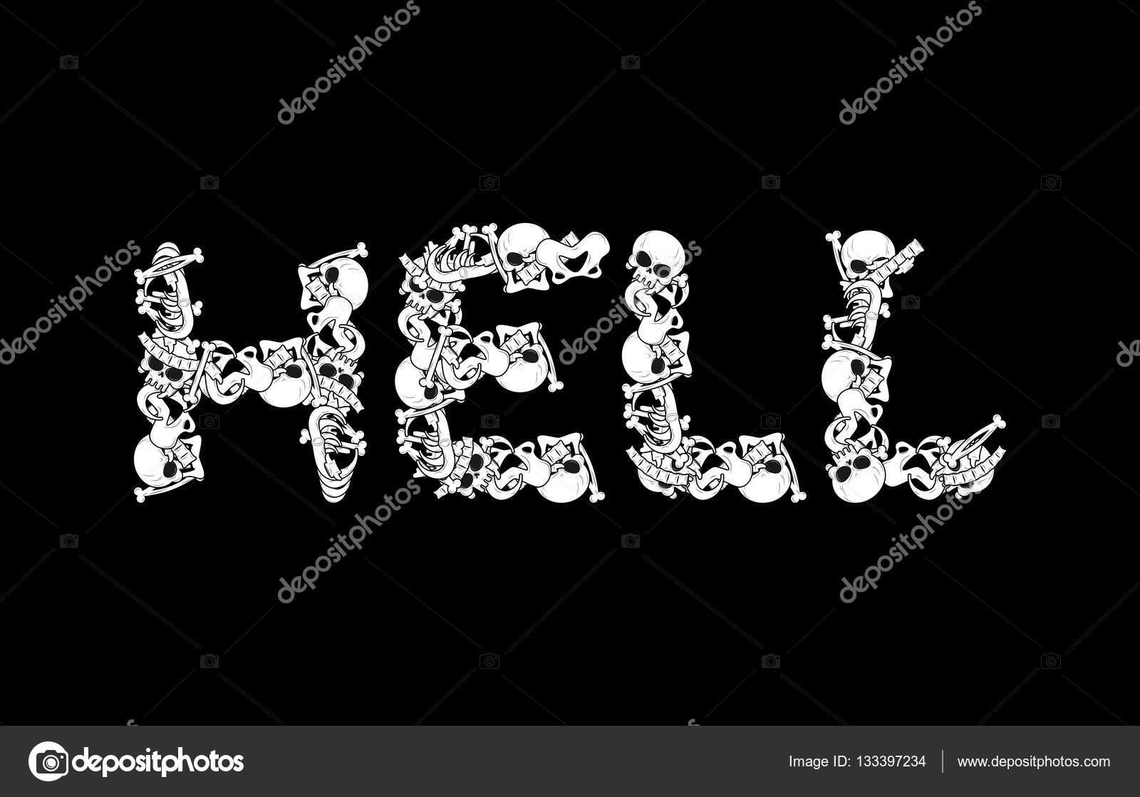 Tipografía de infierno. Letras de huesos. Letras de anatomía. Si la ...