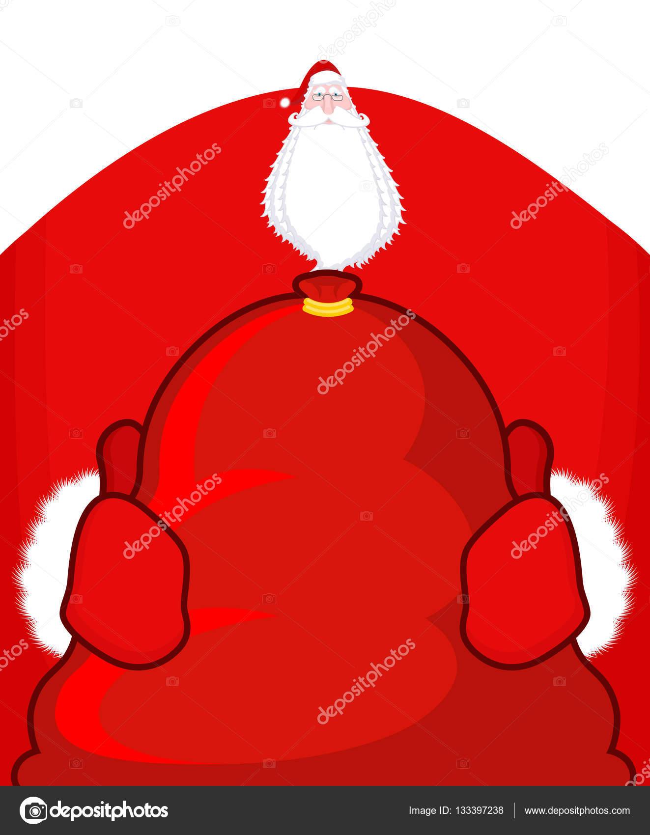 Santa Claus y saco rojo. Bolso grande con regalos. Dando regalos en ...