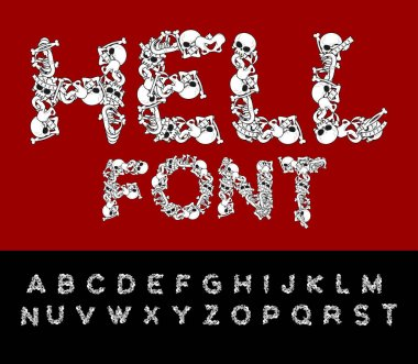 Hell font. Bones ABC. Skeleton Letters. Skull and spine. Jaw and