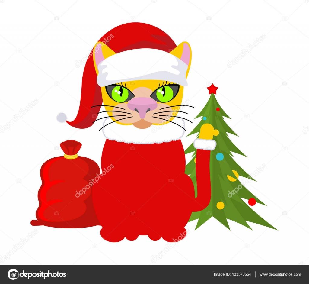 クリスマス猫サンタ クロースの帽子をペットします赤バッグ