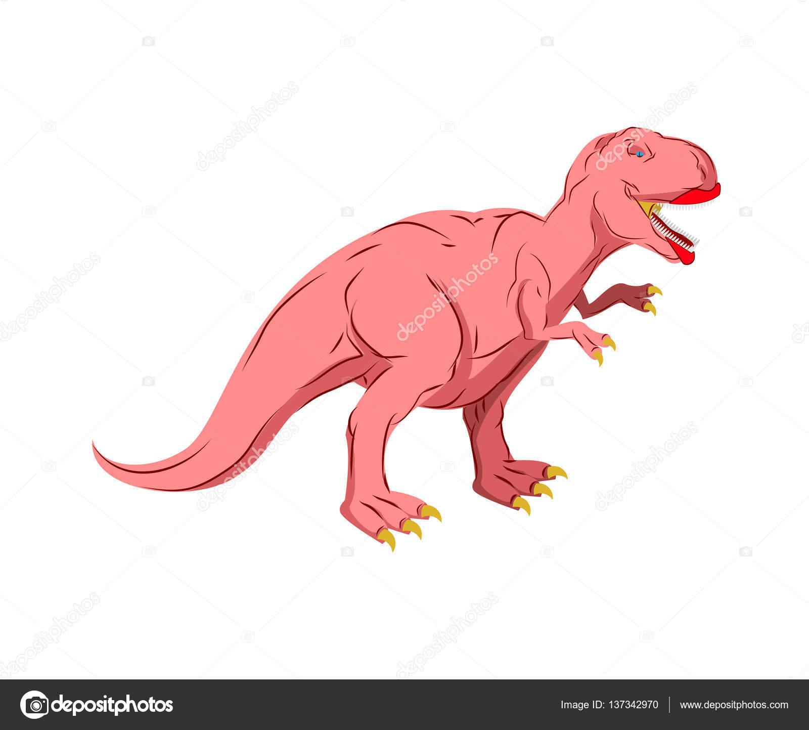 Hembra de Dino. Dinosaurio color rosa aislada. Antiguo depredador ...