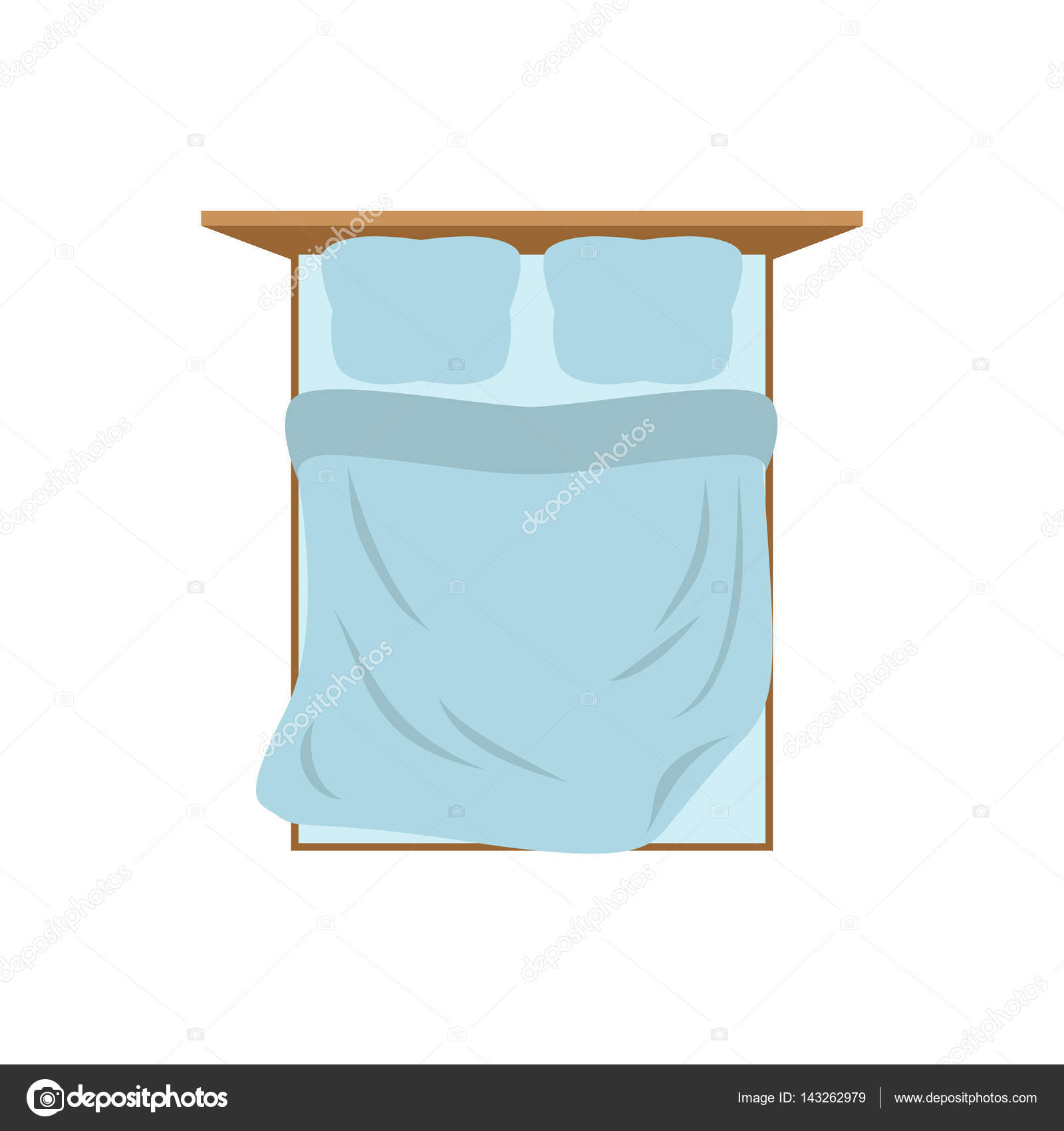 Empty Bed top view isolated. Pillow and blanket. Tucked Double b ... for Pillow And Blanket Clipart  61obs