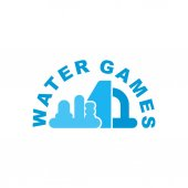 Photo Water Games logo. Emblem for Inflatable park attraction