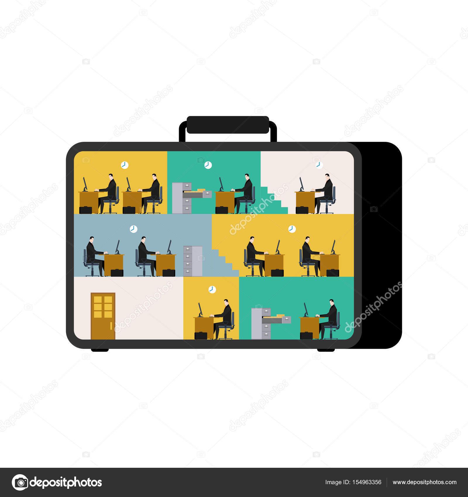 b ro im fall mobiler arbeitsplatz im koffer f hrungskr fte arbeiten o stockvektor. Black Bedroom Furniture Sets. Home Design Ideas