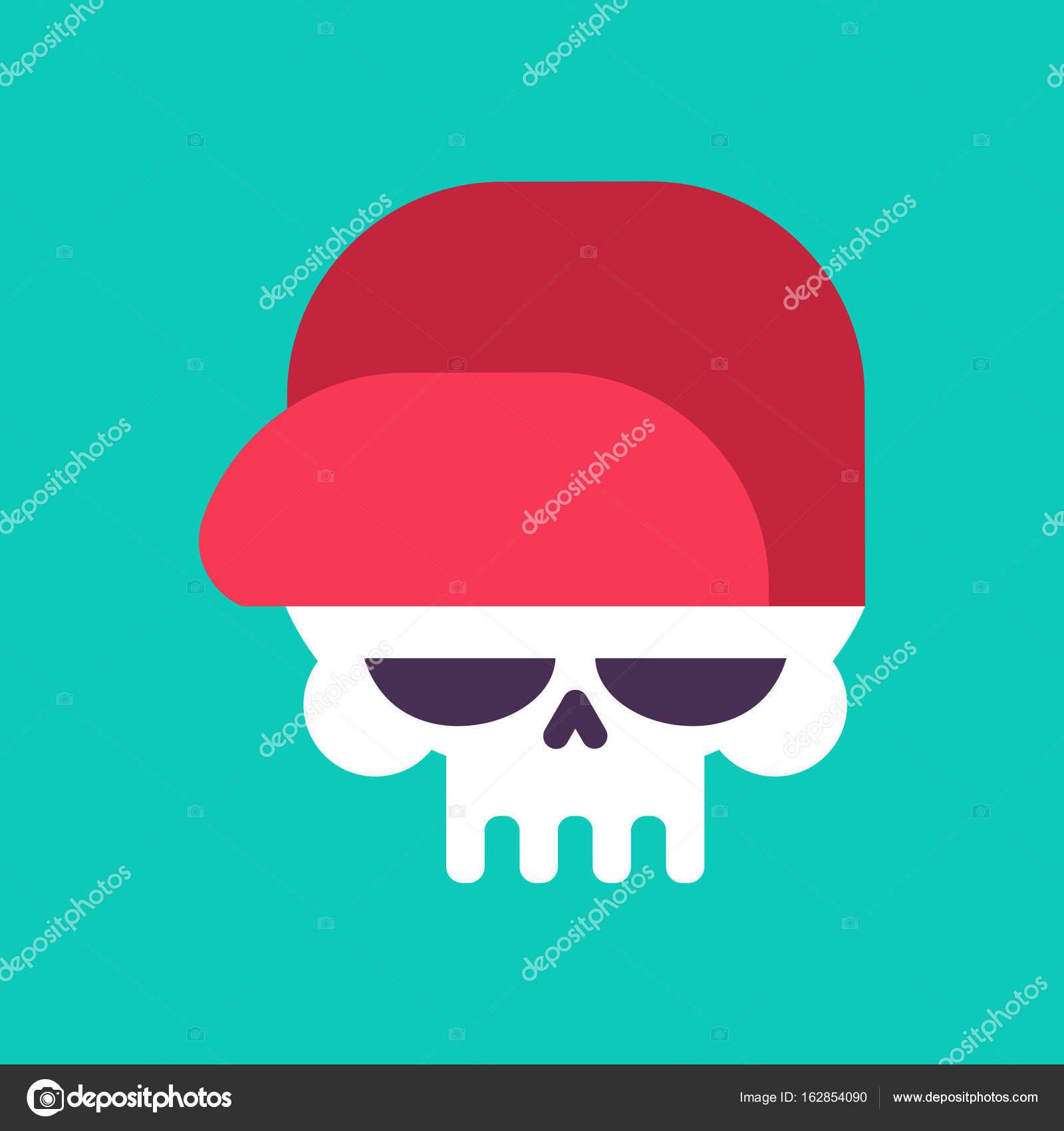 Calavera en la gorra de béisbol aislada. Cabeza de esqueleto en ...