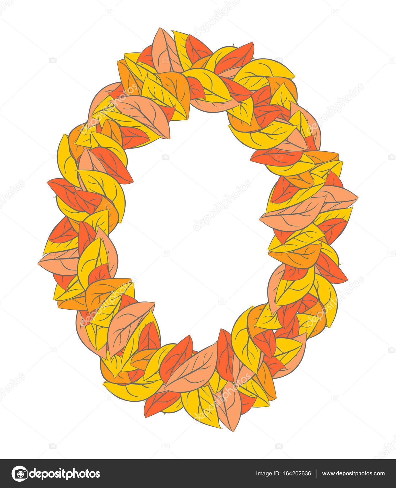 Marco de elipse otoño aislado. Fondo de hojas amarillas — Archivo ...