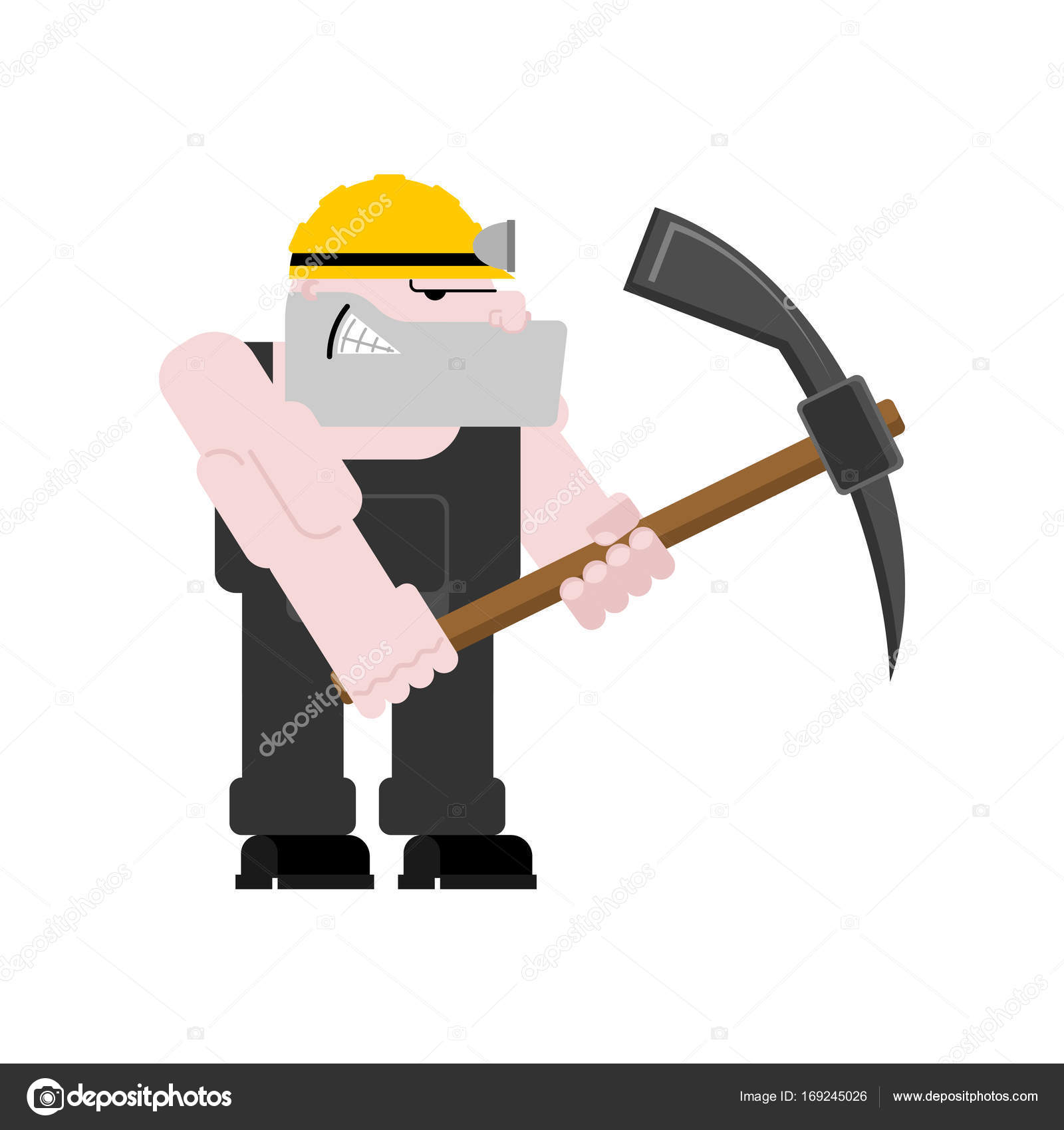 Miner Worker Mining Isolated Collier With Pickaxe Pitman Is At