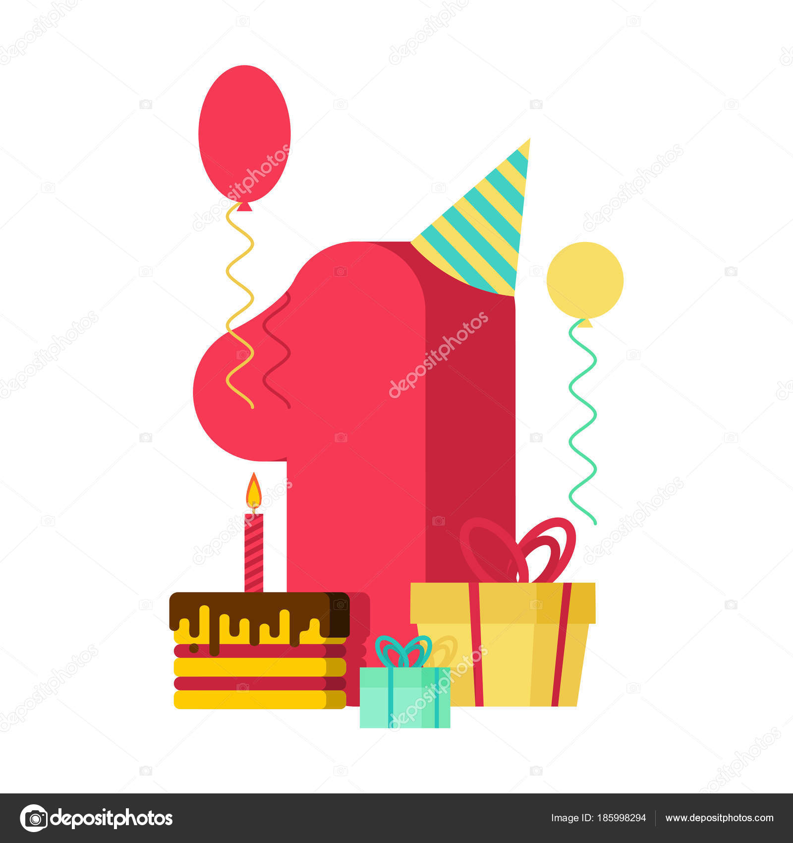 1 Year Happy Birthday Greeting Card 1th Anniversary Celebration