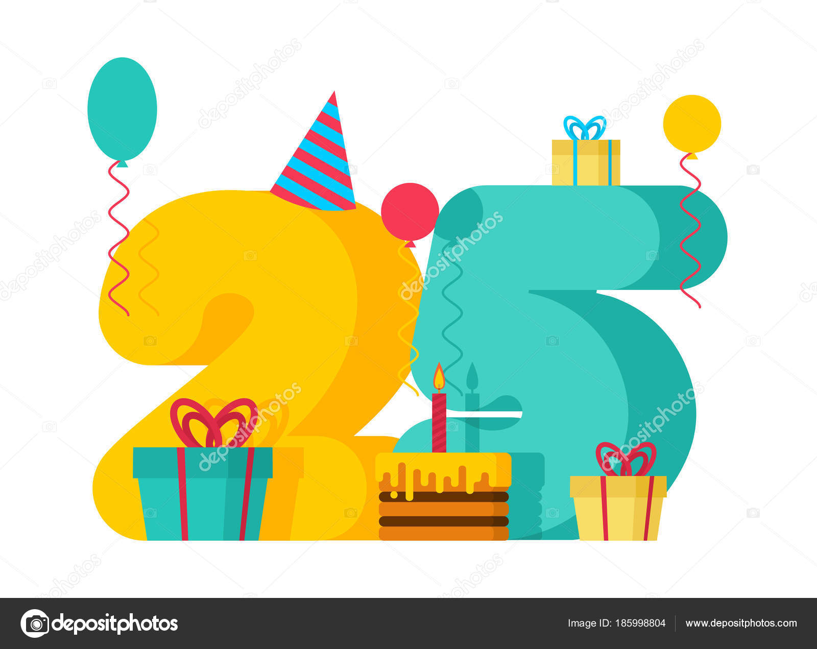Feliz Aniversario 25: Cartão De Felicitações De Feliz Aniversário De 25 Anos