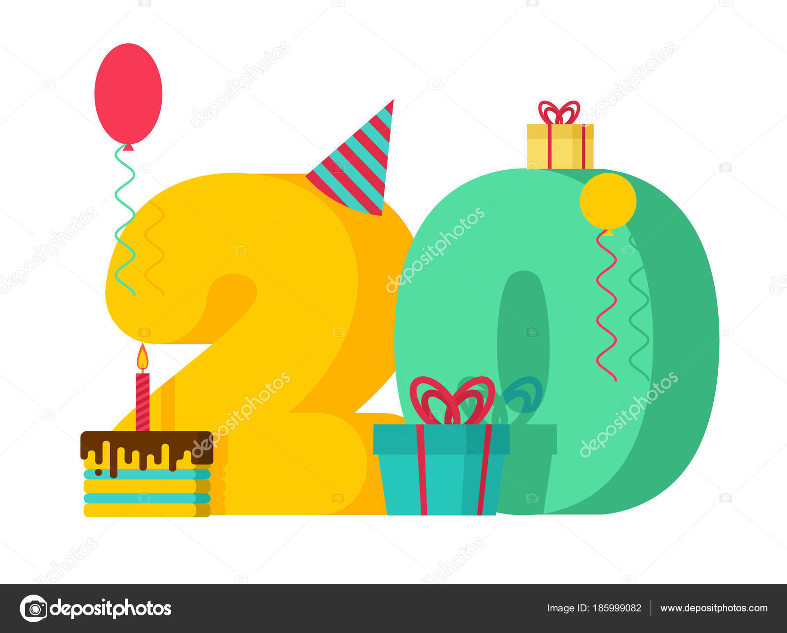 20 year birthday sign 20th template greeting card anniversary c