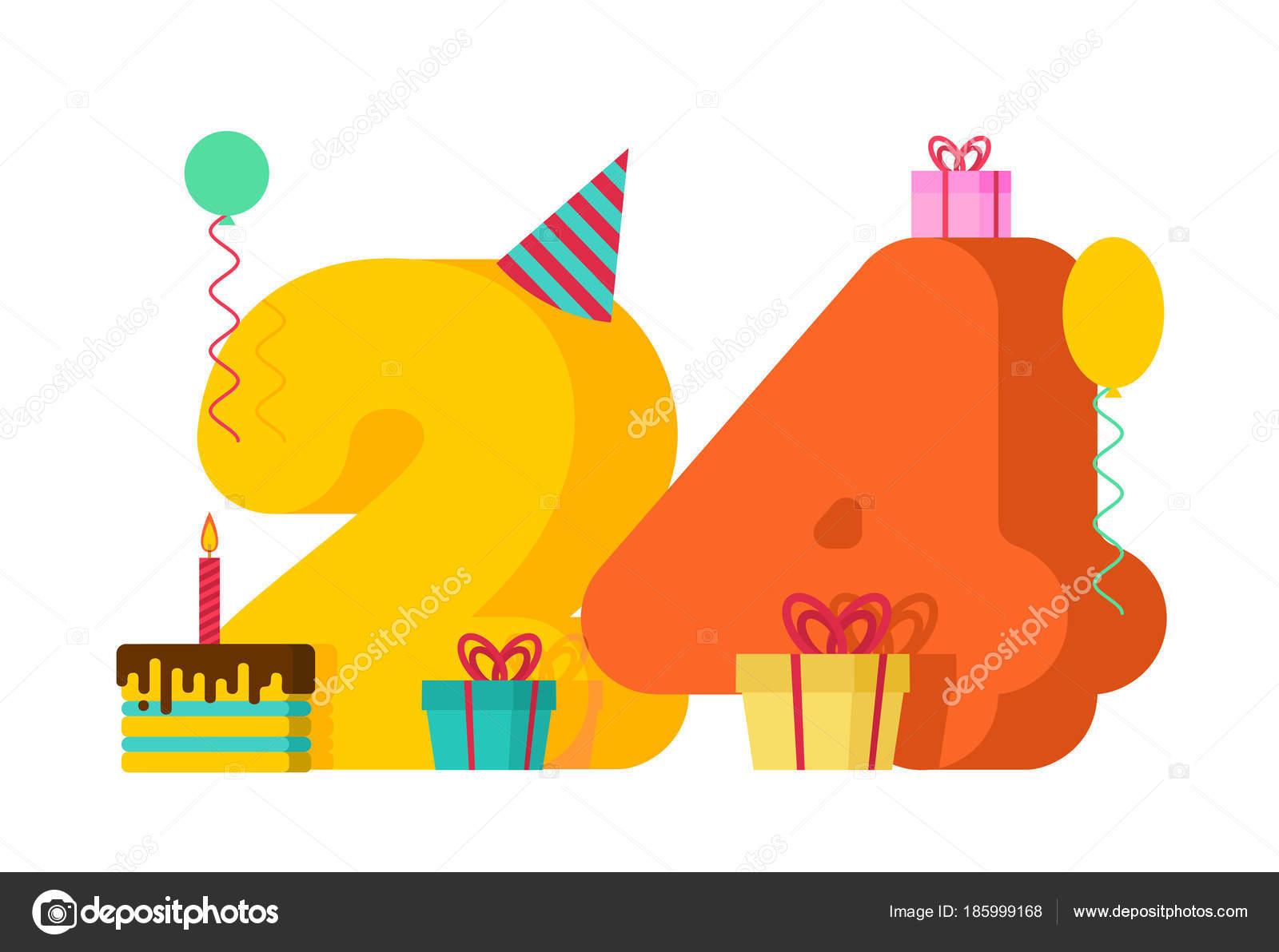 24 års present 24 år Grattis hälsningskort. 24 årsdagen celebrati — Stock Vektor  24 års present