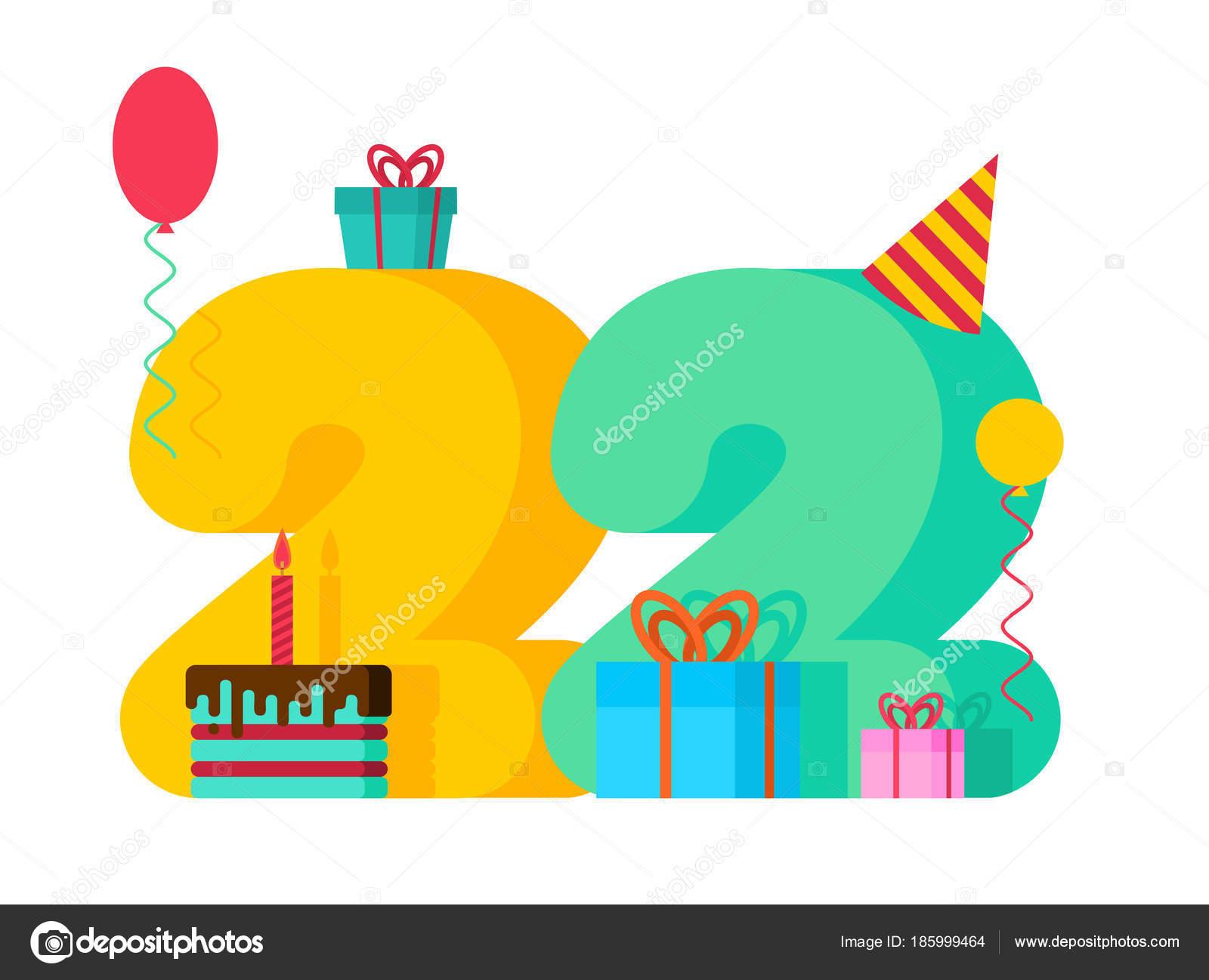 22 születésnapi köszöntő 22 éves születésnapi jele. 22 c sablon üdvözlőlap évforduló  22 születésnapi köszöntő