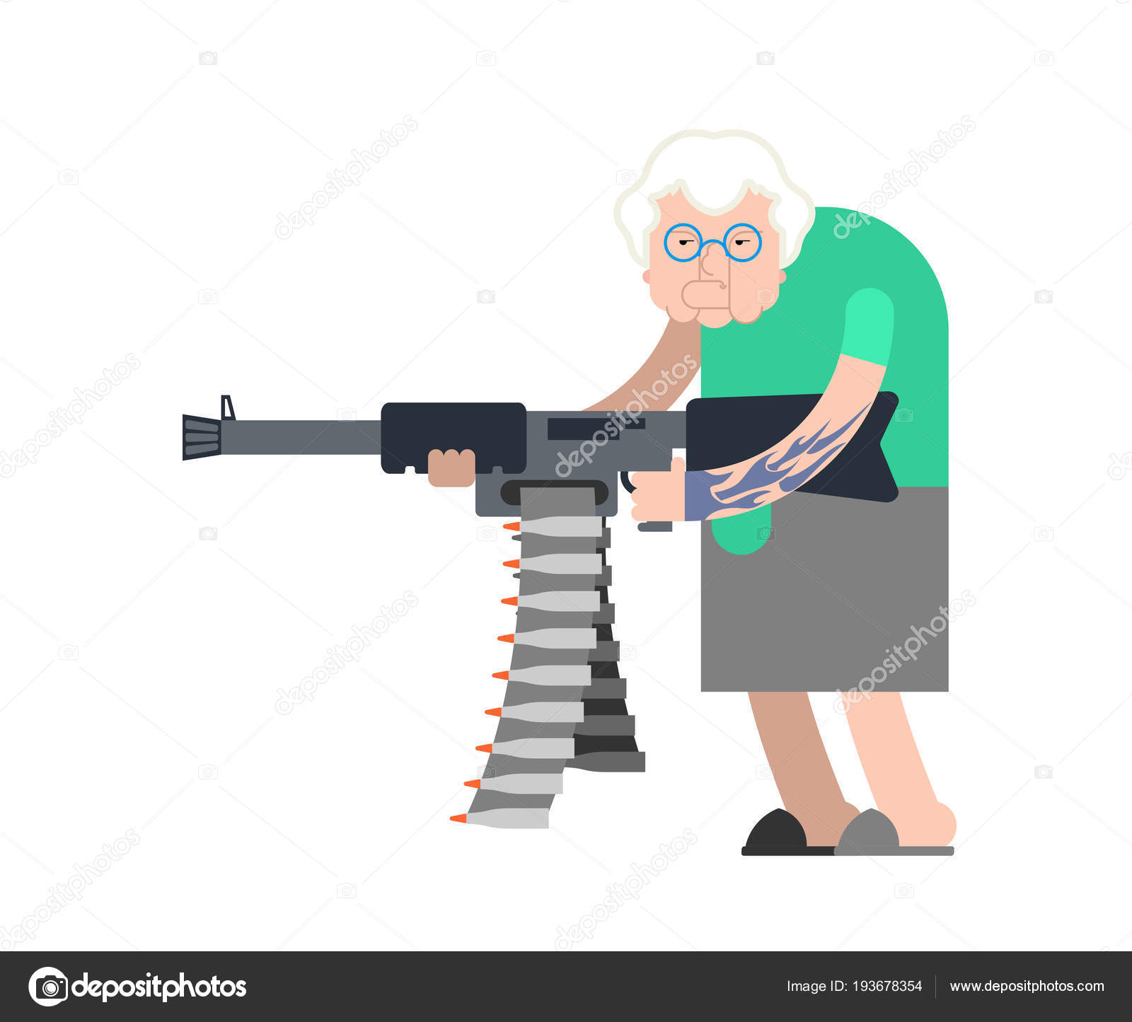 Grandmother And Gun. Evil Grandma Gangster With Weapon