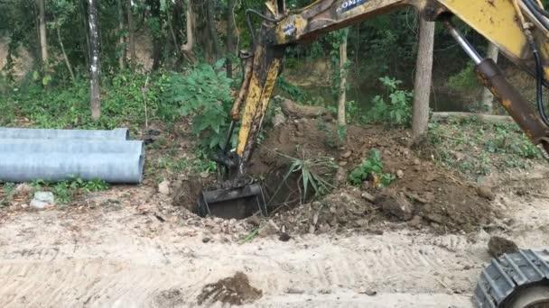backhoe loader soil dig working in construction site