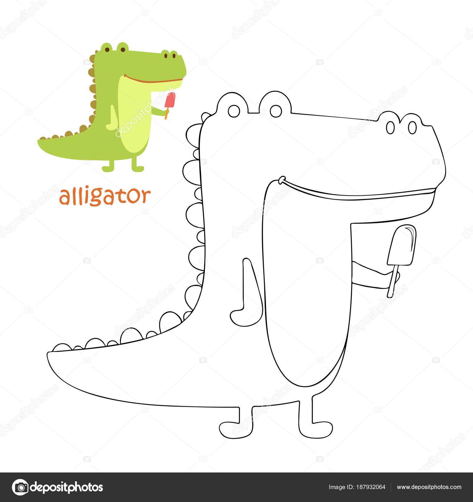 Niños página - cocodrilo para colorear — Archivo Imágenes ...