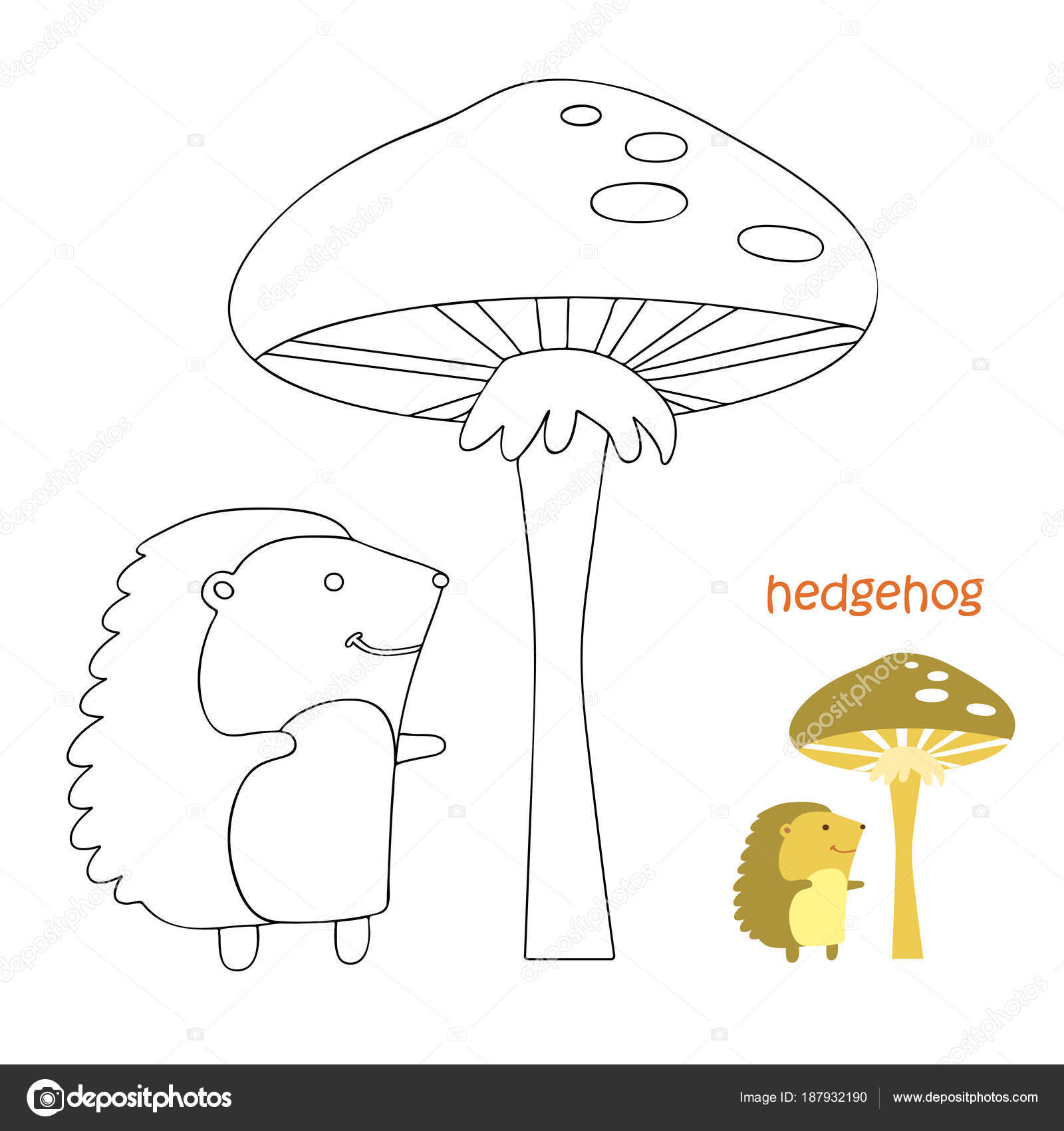 Página para colorear de niños - erizo — Archivo Imágenes Vectoriales ...