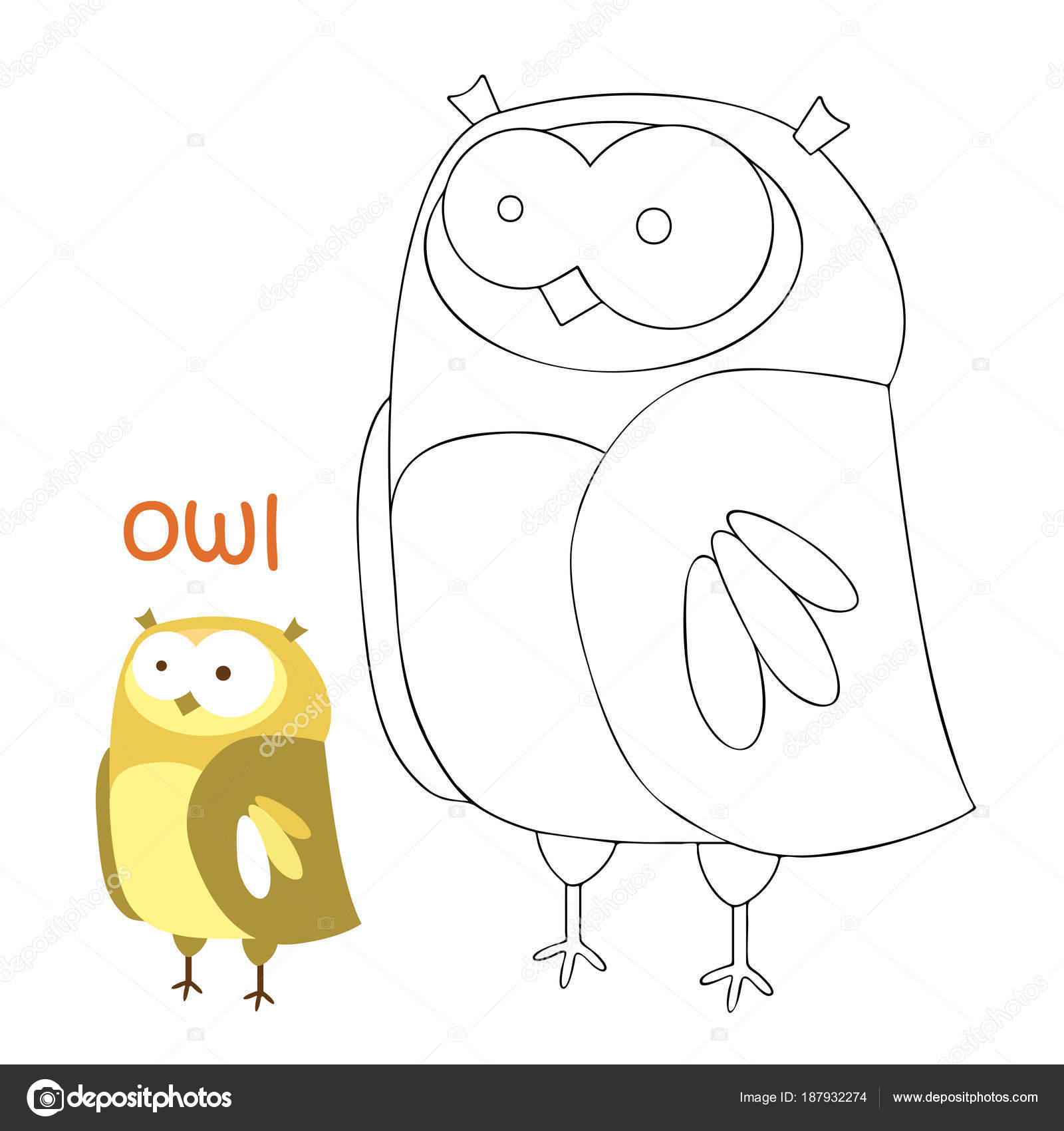 Kids coloring page - owl — Stock Vector © ollegN #187932274