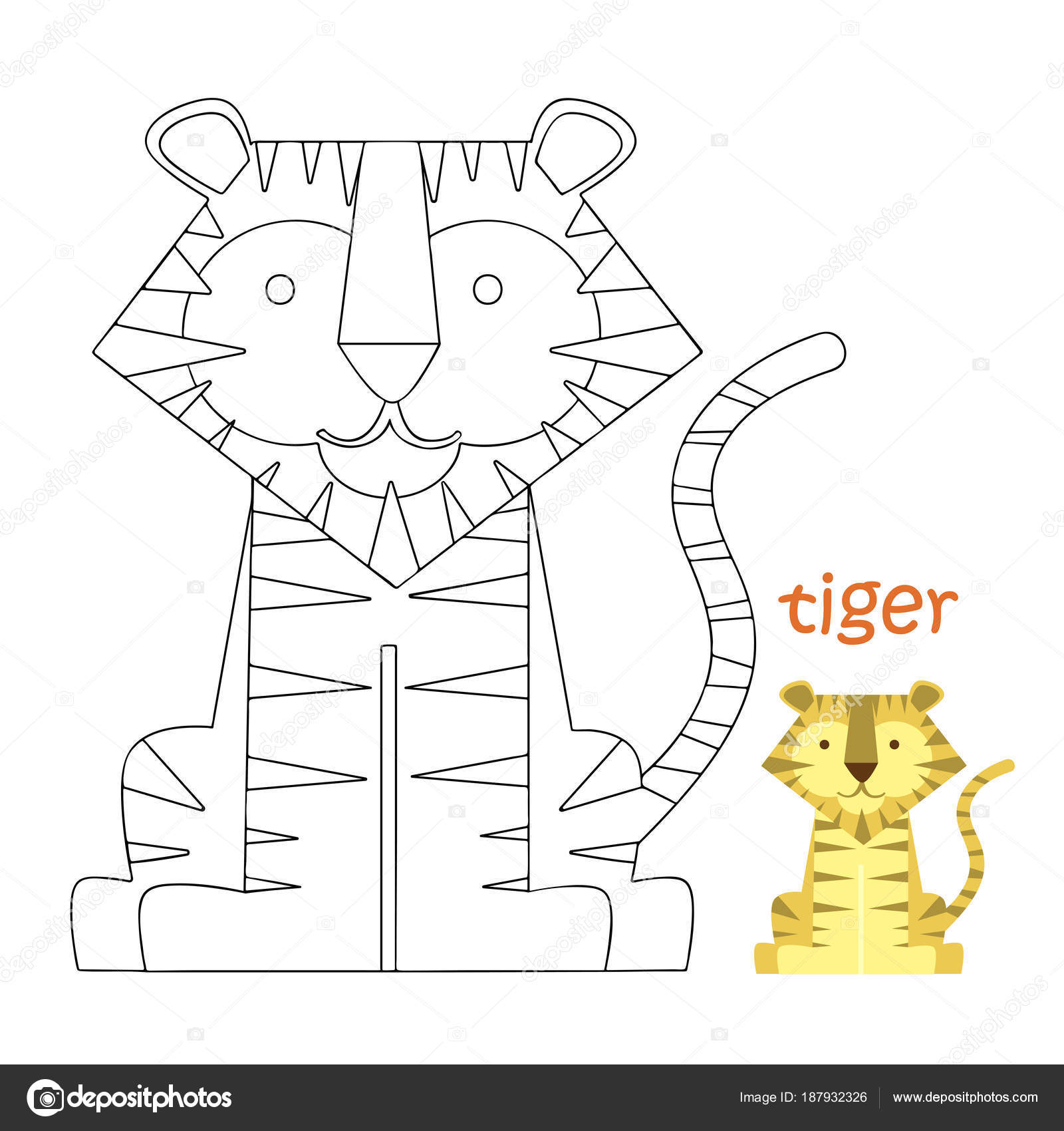 Kids Kleurplaten Pagina Tijger Stockvector C Ollegn 187932326