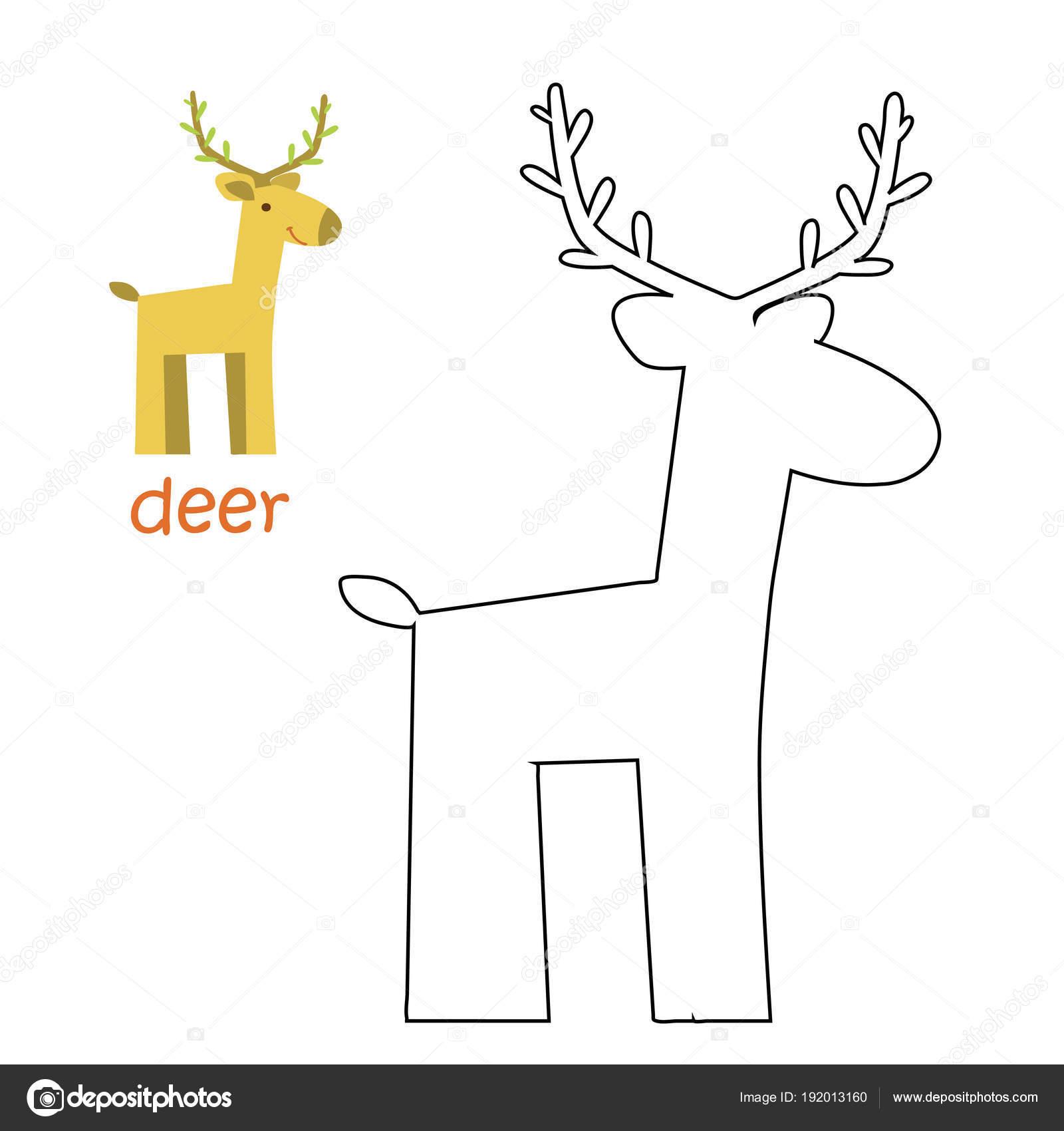 Niños página - ciervo para colorear — Vector de stock © ollegN ...