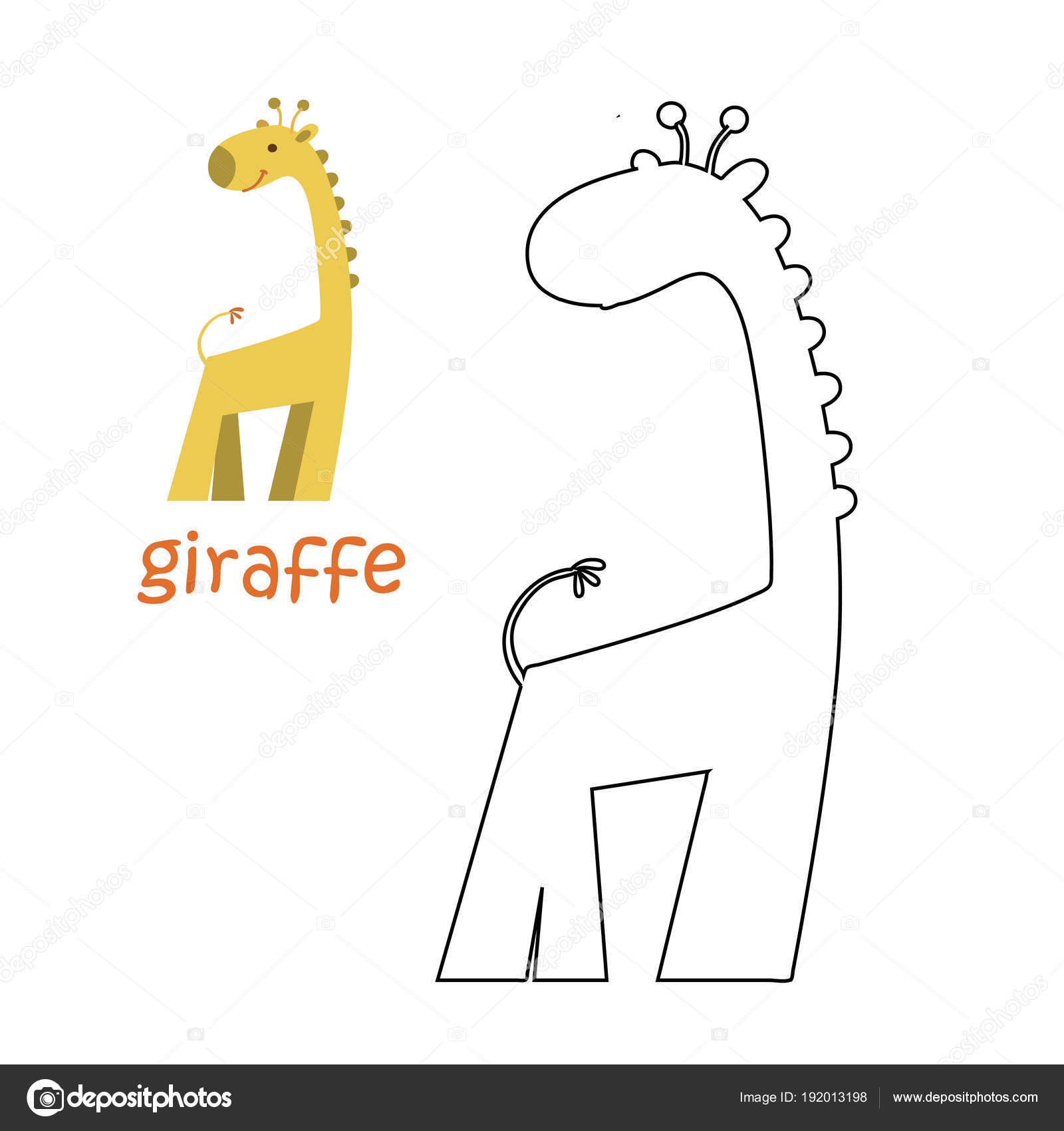 Kids coloring page - giraffe — Stock Vector © ollegN #192013198
