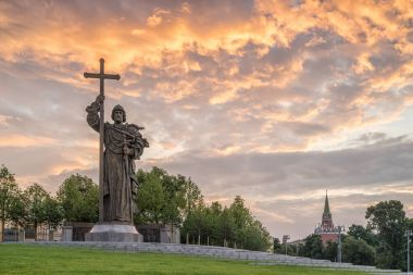 MOSCOW, RUSSIA - JULY 15, 2017: Monument to the Holy Prince Vlad