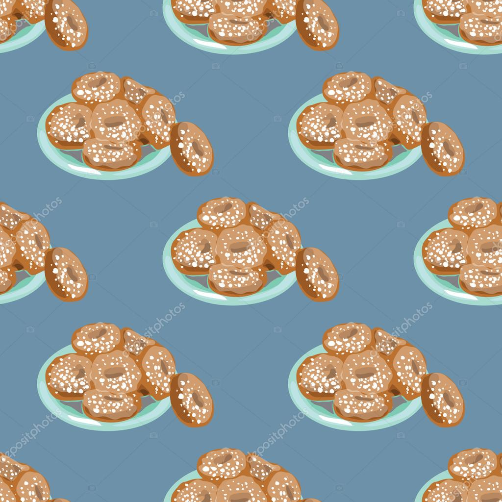 Illustration for the book. Seamless pattern. A plate of donuts. Donuts in powdered sugar