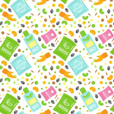 Seamless Pattern Fertilizer Vector Illustrations.