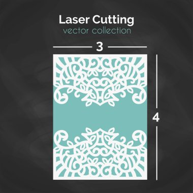 Laser Cutting Template. Carverd Greeting Card.