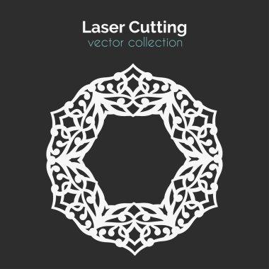 Laser Cutting Template. Round Card. Die Cut Mangala