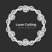 Fotografie Laser Cutting Template. Round Card with Roses.