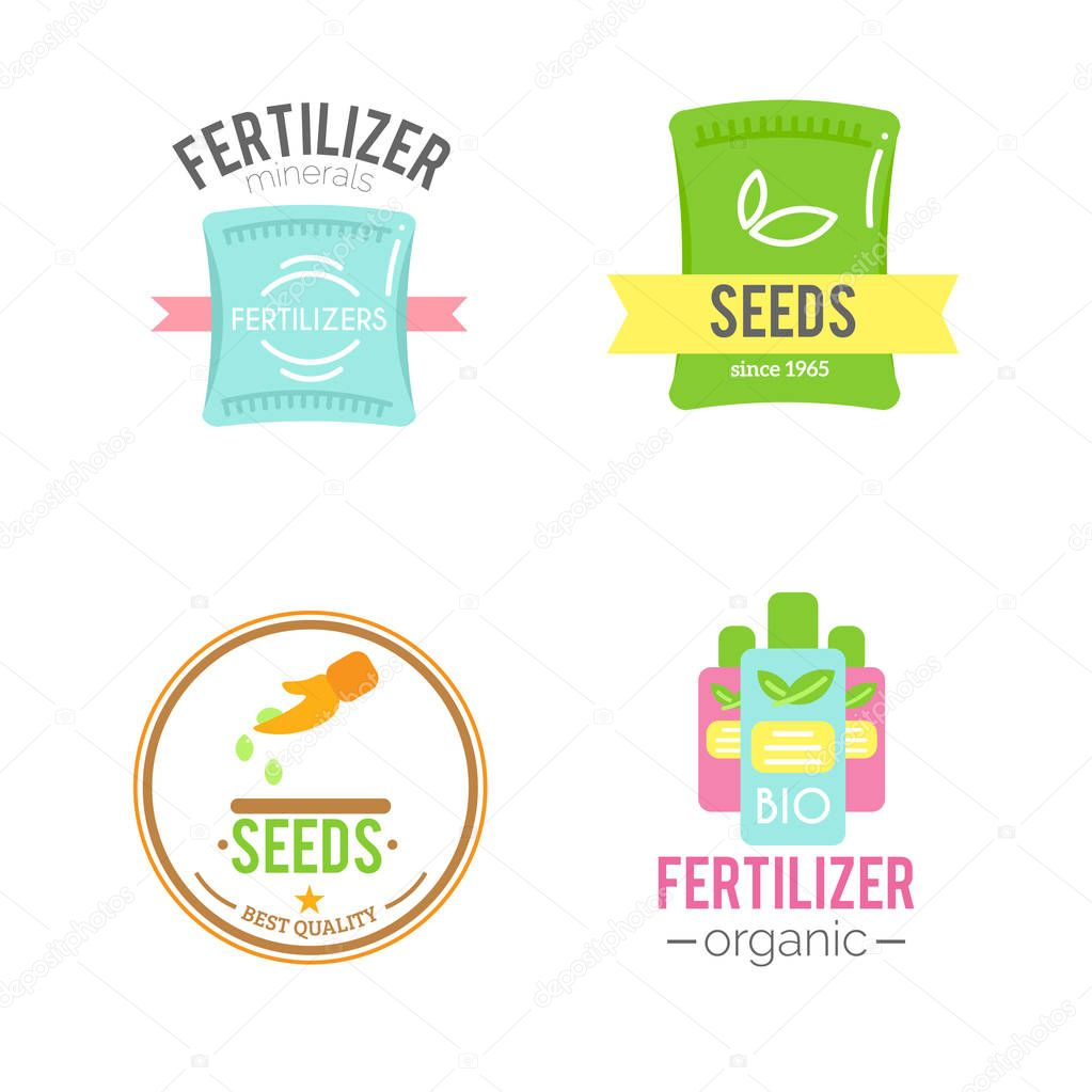 Badges with fertilizers illustrations.