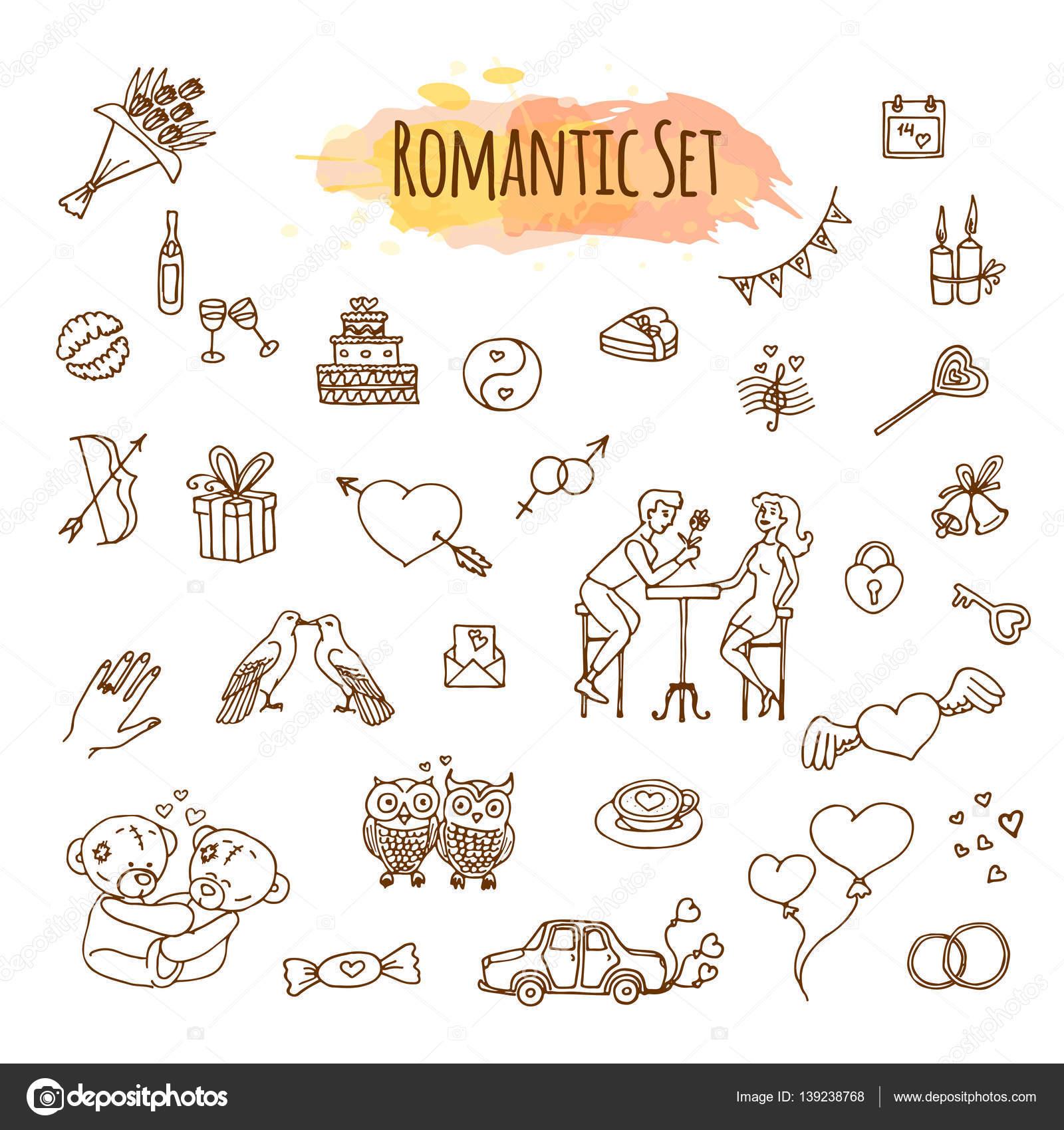 手描き落書き愛とロマンチックなイラストですベクトル大ざっぱな結婚式