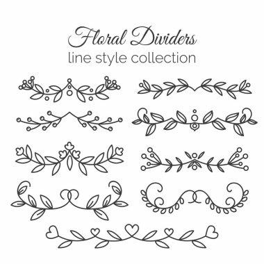 Flourishes. Hand drawn dividers set. Line style decoration.