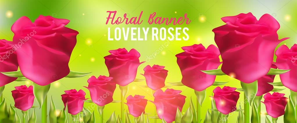 Pink roses background, realistic flowers and green leaves. Aroma rloral vector illustration. Summer banner.