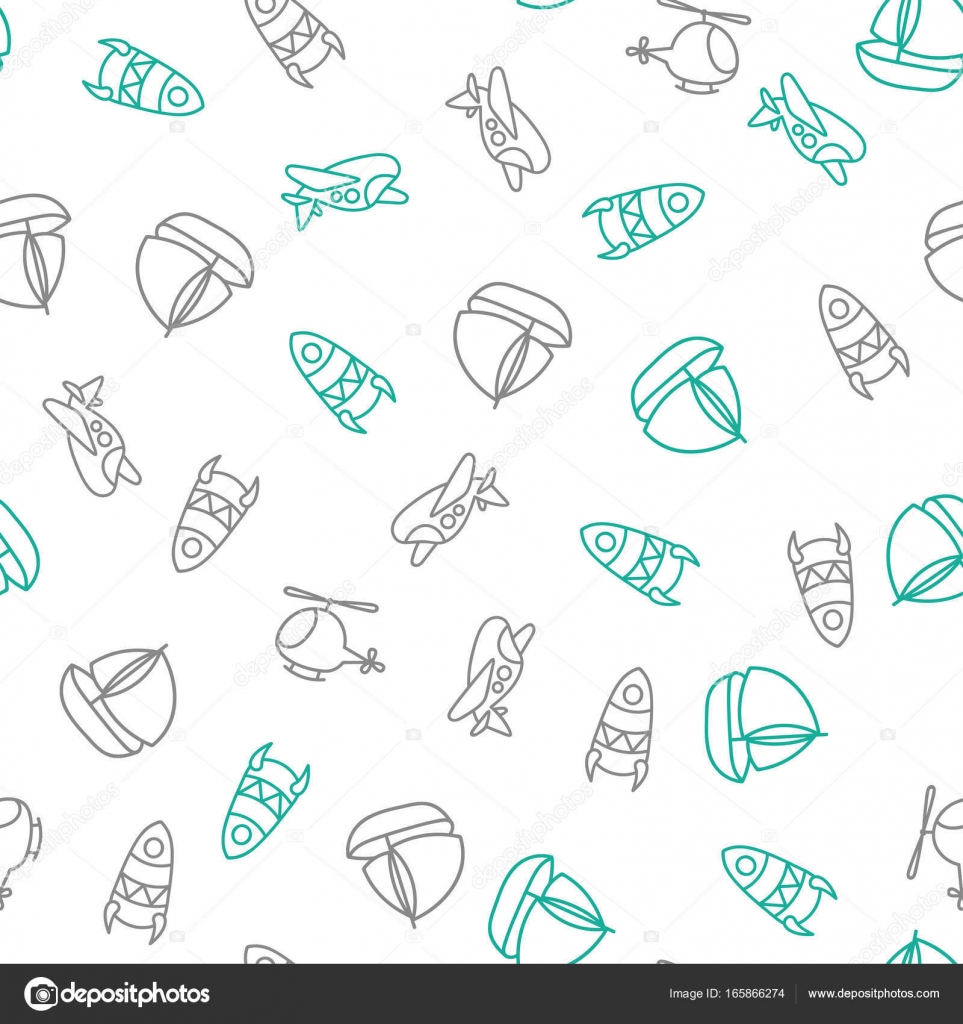 background for cute little boys transportation print doodle style