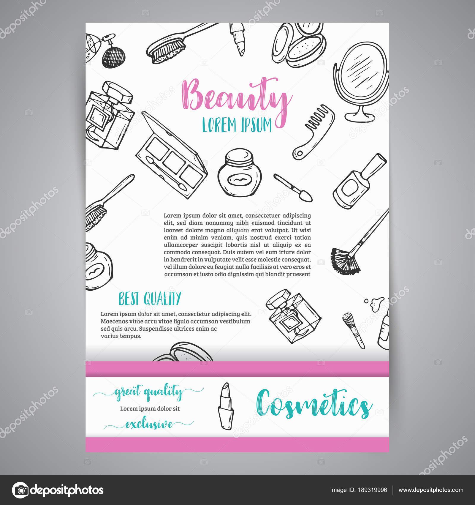 Make-up Business Broschüre und Banner. Kosmetikartikel. Anzeige für ...