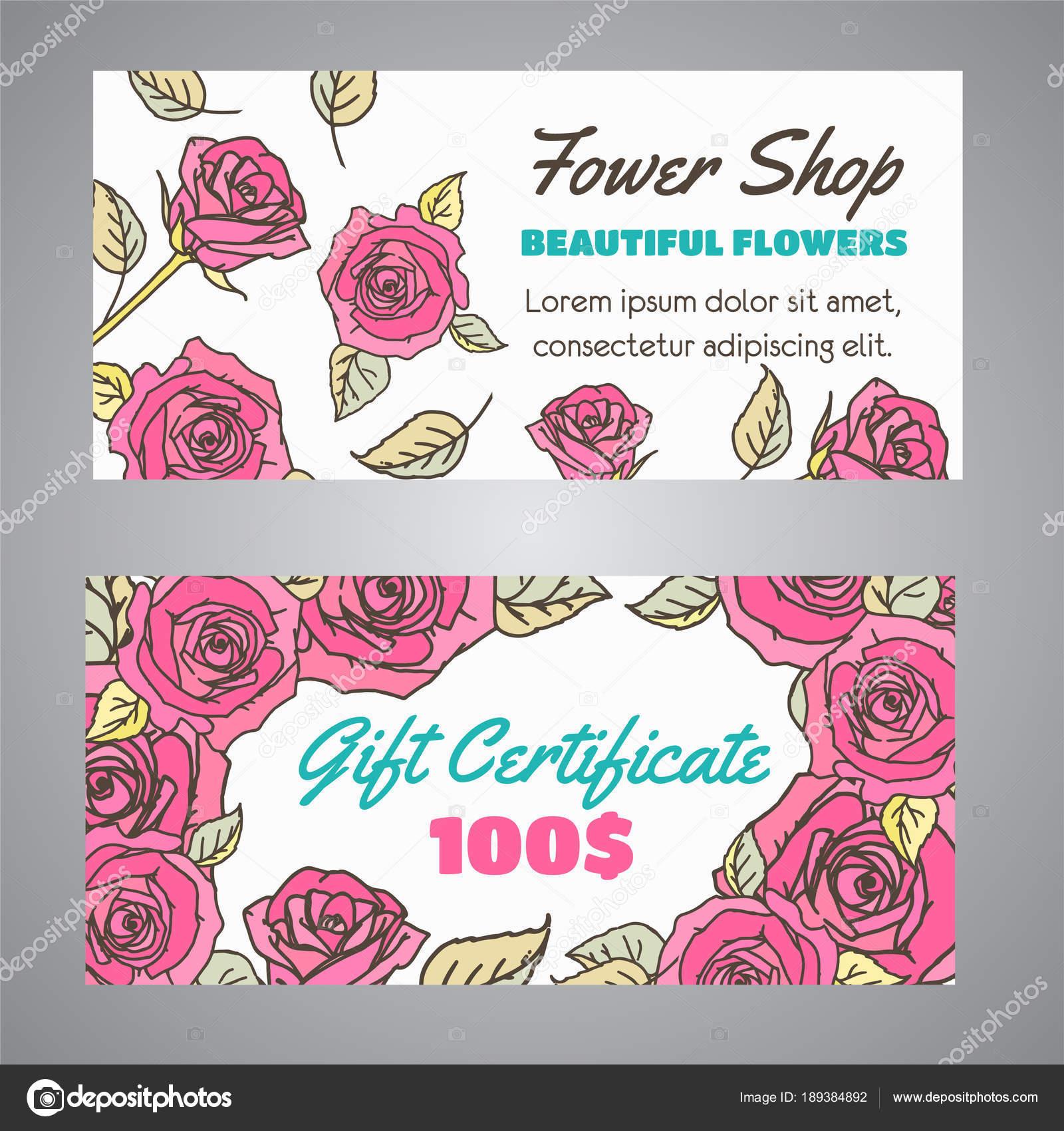 Geschenkgutschein für Blumenladen. Blumen Gutschein für Beauty-Salon ...