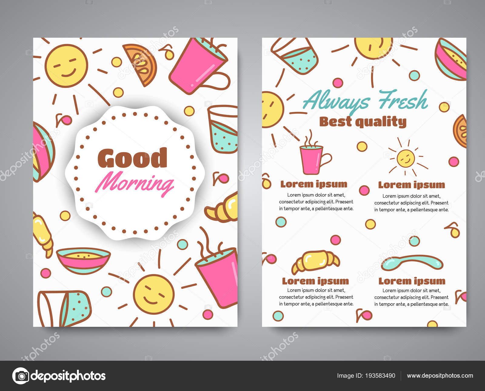 Good Morning Slogan On Brochure Breakfast Menu For Cafe Illustration Always Fresh Text Cafe Bakery Concept Coffeee And Tea Time Vector Stock Vector C Kamimi 193583490